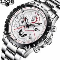 Watches Men Top Brand LIGE Fashion Men Sport Quartz Clock Mens Watches Full Steel Business Waterproof