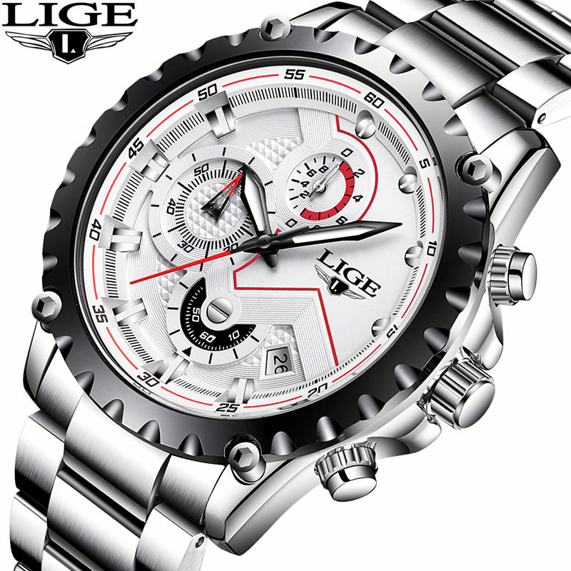 Watches Men Top Brand LIGE Fashion Men Sport Quartz Clock Mens Watches Full Steel Business Waterproof Watch Relogio Masculino lige mens watches top brand luxury man fashion business quartz watch men sport full steel waterproof clock erkek kol saati box