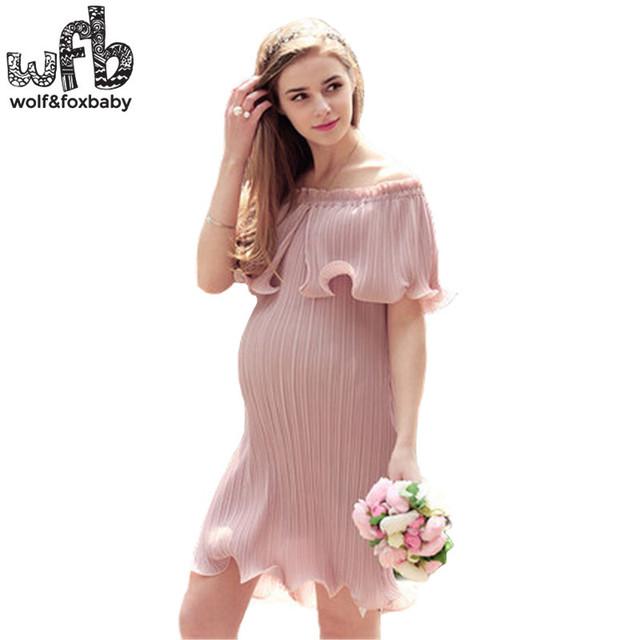 Varejo mulheres grávidas tamanho grande strapless dress cor sólida ruffles saia plissada verão