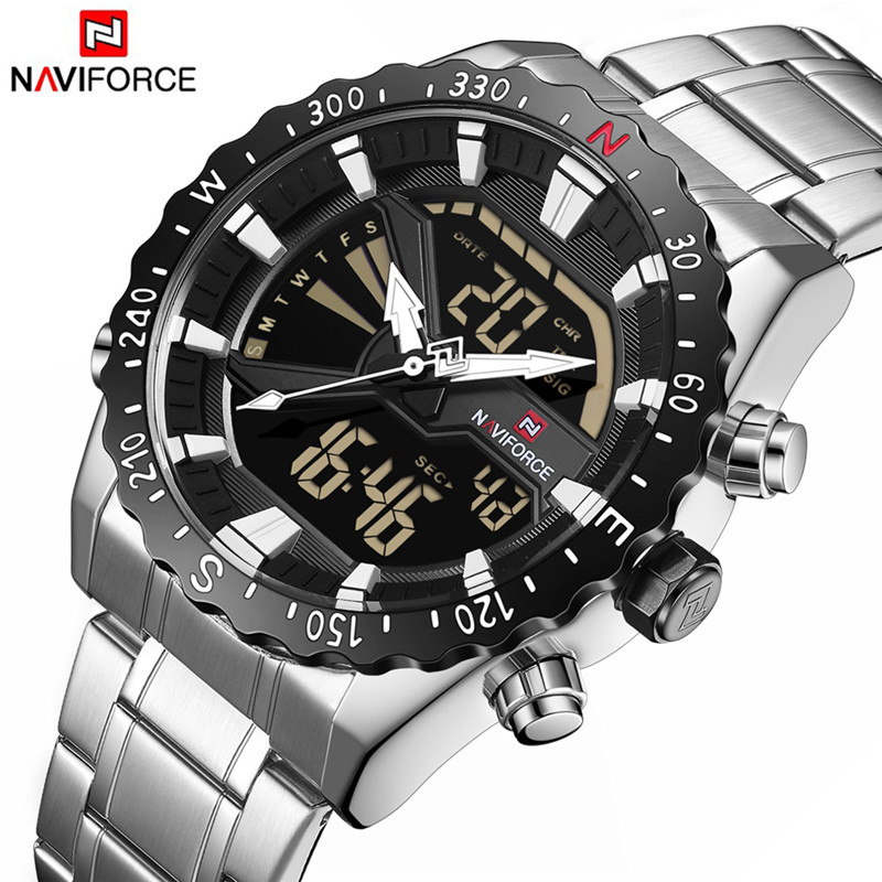 Men Military Sport Watches Mens LED Analog Digital Watch Male Stainless Quartz Clock  9136