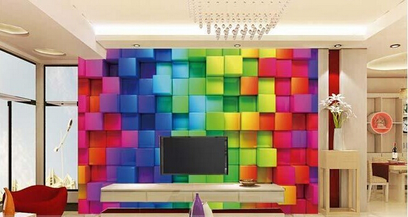 2015 new colourful and strong third dimension wallpaper for living room hotel - Colourful Living Room