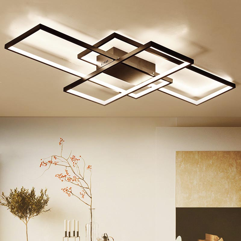 NEO Gleam New Arrival Black White LED Ceiling Chandelier For Living Study Room Bedroom Aluminum Modern