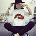 Новый Вышивка Кружева Аппликация Блестка Red Lips POP радуга крылья Ткань Одежды Патч Наклейки Одежда Футболка Diy Аксессуары