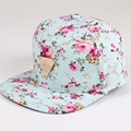Floral Print Baseball Cap Flat Along Flowers Hip Hop Caps Snapback Wholesale Fashion Women Leisure Metal Flat Brim Bone