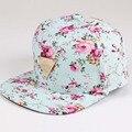 Impresión floral gorra de béisbol plana a lo largo de flores tapas de hip hop snapback al por mayor moda mujeres ocio de metal plana brim hueso