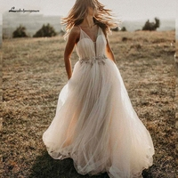 Lakshmigown A Line Tulle Bride Dress 2019 Robe Mariee Boho Wedding Dresses Crystal Beaded Mariage Long Wedding Gown Custom Made