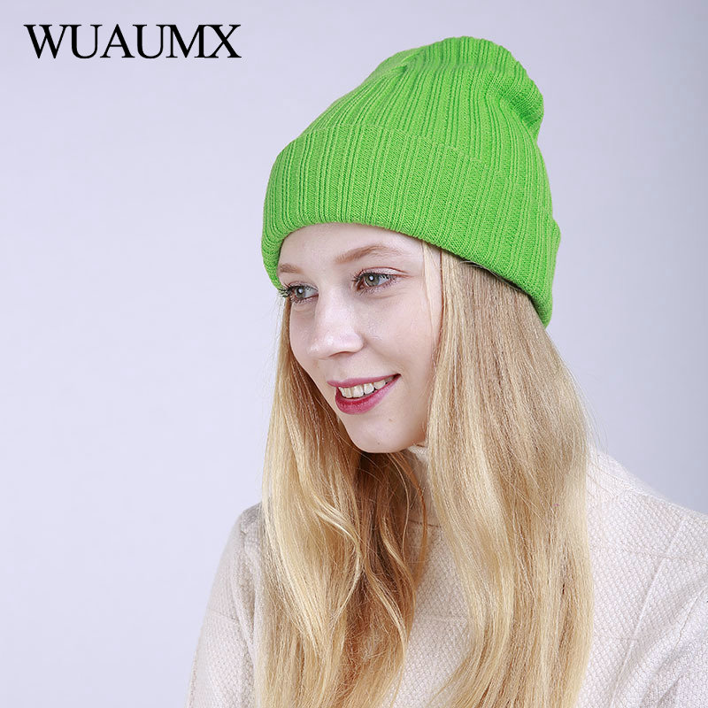 Wuaumx Simple   Beanies   Winter Hats For Women Keep Warm Striped Knitted   Skullies     Beanie   Solid Baggy Caps Bonnet czapka zimowa