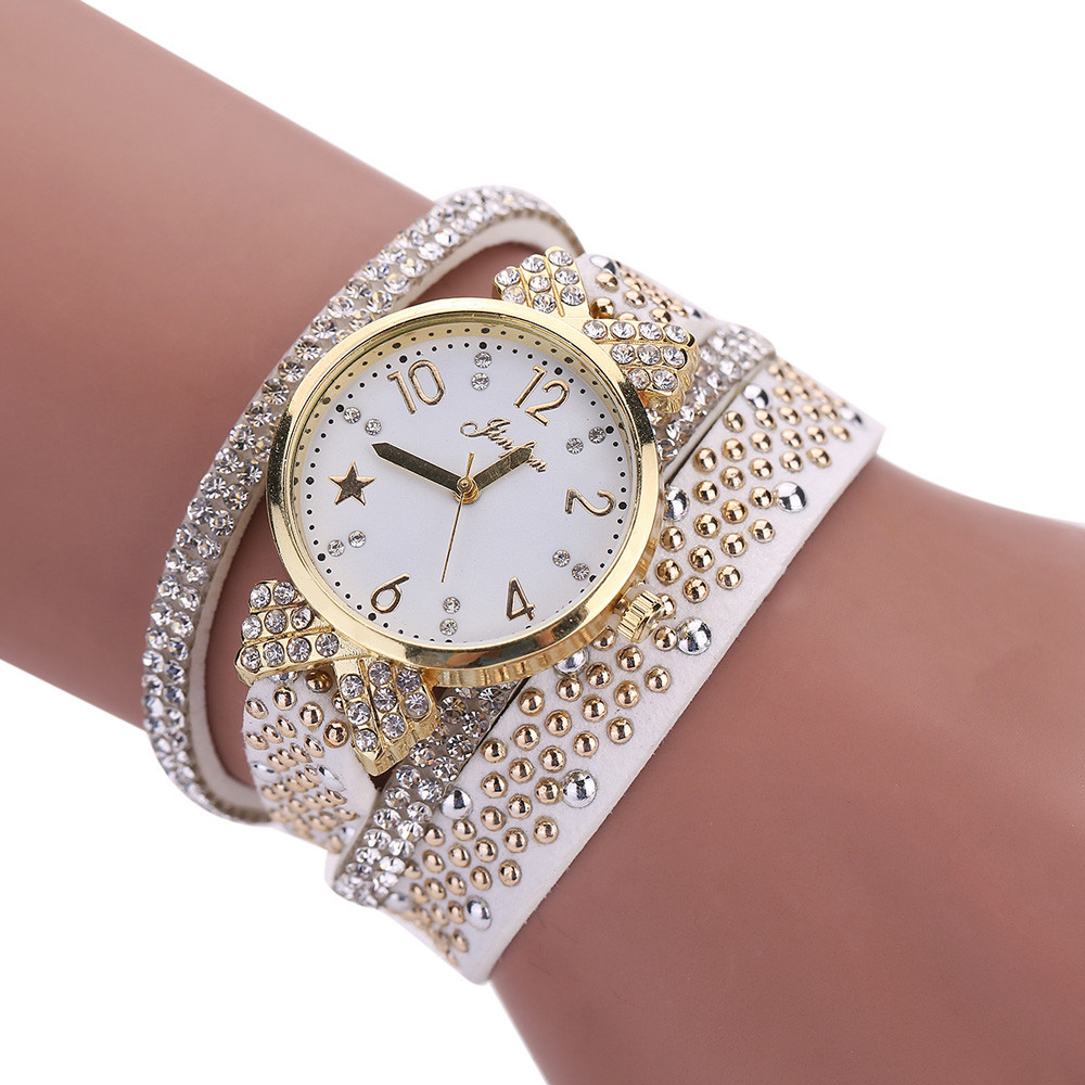 Women Watch Bracelets Vintage Retro Women Sports Casual Rhinestone Ladies Leather Quartz Dress Wrist Watch relogio feminino Gift