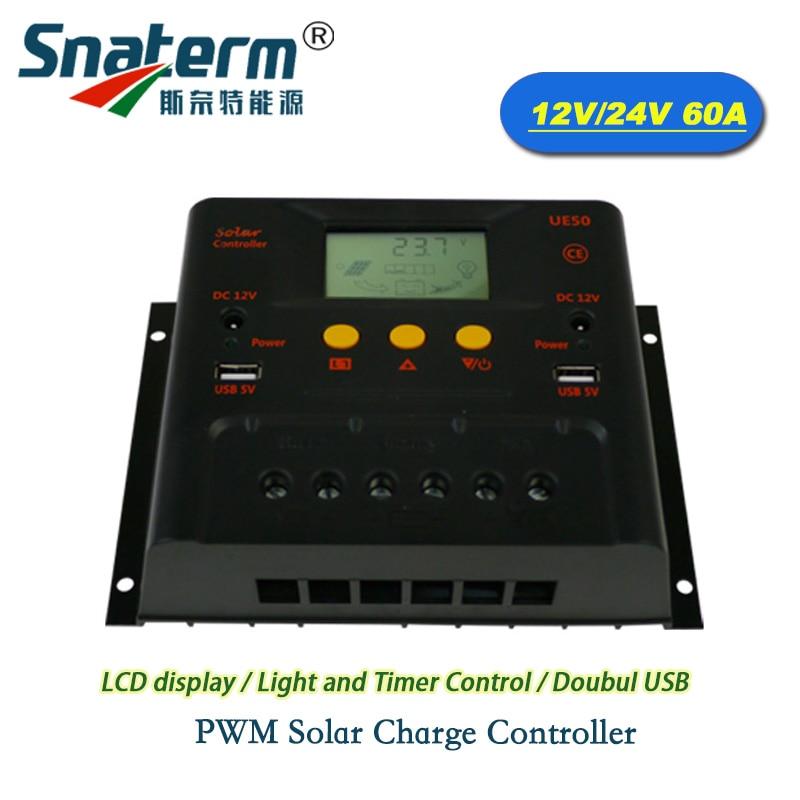 Promotion 60A DC 12V 24V Auto Solar Charger Controller solar PV battery charger Regulator Solar cells