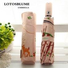 цена на LOTOSBLUME 3 fold black glue umbrella, sunny and rainy umbrella, small deer printing fashion lovely, small and fres h.