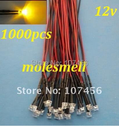 Free Shipping 1000pcs Flat Top Yellow LED Lamp Light Set Pre-Wired 5mm 12V DC Wired 5mm 12v Big/wide Angle Yellow Led