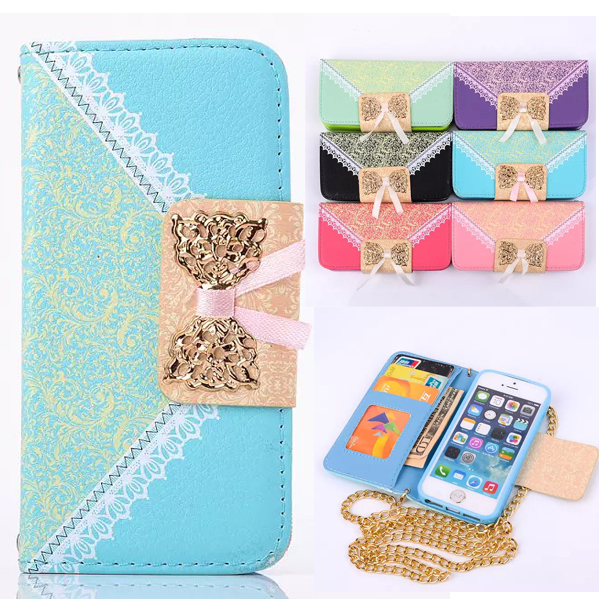 For iPhone5c Photo Frame Metal Gold Chain Bow Lace Wallet Flip Cover PU Leather Case For Apple iPhone 5C mobile Phone Bags Case