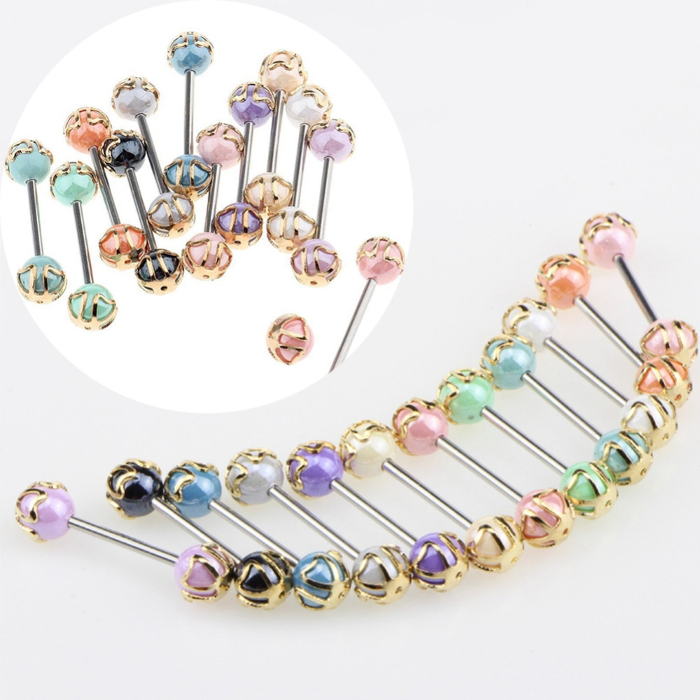 1pc Multicolor Acrylic Ball Tongue Rings 1.2*16mm Barbell Stainless Steel Tongue Stud Women/Men Sexy Bar Piercing Body Jewelry