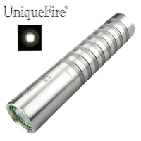 UniqueFire UF G6 T6 Stainless Steel Led Flashlight Mini Torch Portable Handheld Silvery Tempered Glass Lens Lamp