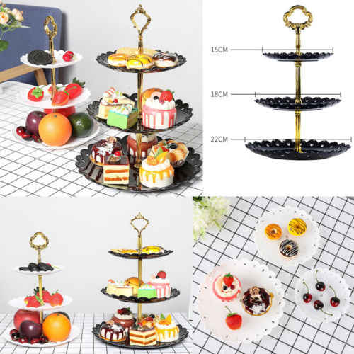 3-Tier Stand שלוש-שכבה פירות דוכן עוגת צלחת קינוח ירקות אחסון מתלה לנכש המפלגה עוגת stand