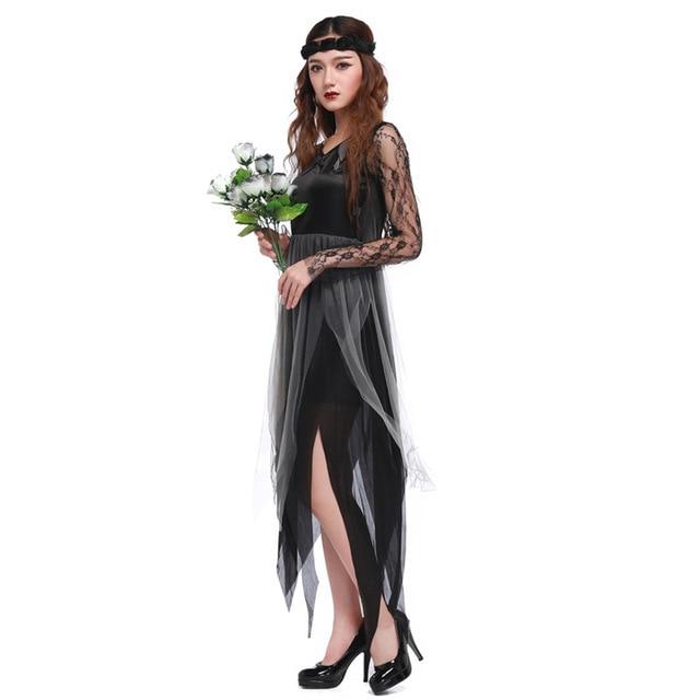 Ghost Bride Black Wedding Costumes Fancy Party Carnival Roleplay 2016 Sale Halloween Cosplay Vampire Queen