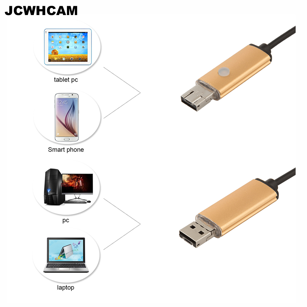 JCWHCAM 1M 2M 5M 10M Endoscope Borescope USB Android Inspection Camera HD 6 LED 5.5mm Len 480p Waterproof Car Endoscopio Tube