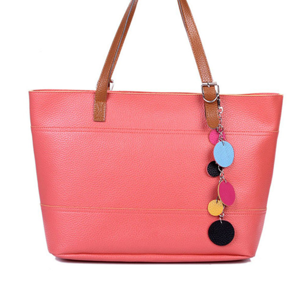 5 pièces de doux-couleur femmes filles cartable sac à main épaule sac fourre-tout dame sac Shopper pastèque rouge