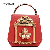 3D Golden Relief Angel Luxury Women Diamonds Evening Bags Baroque Style Day Clutches Purse Bags Pearl
