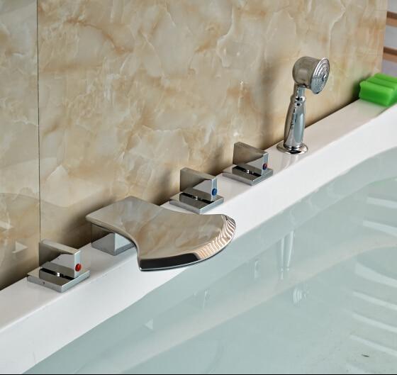 Chorme Polish Bathtub Faucet Three handles Tap Hot&Cold Faucet 5pcs elegant chorme polish tub faucet bathroom 5pcs faucet hot