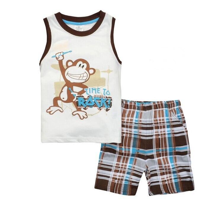 Children's Pajamas for Boys Cartoon Print Toddler Boys Pyjamas Kids Short Sleeve Pijama Bebe Sleepwear Summer Clothing Set SH445