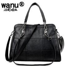 WANU Hot selling genuine leather women's handbag Cowhide  shoulder bag women messenger bag black and brown color free shipping
