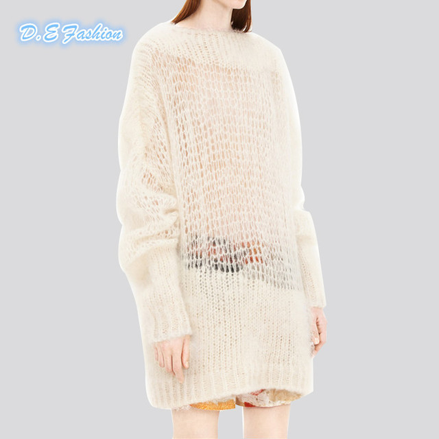 Fashion Autumn Winter Casual Loose O-neck Hollow Sweater Jumpers Black Knitting  Sweaters For Women Sweaters And Pullovers 2c922b2cd