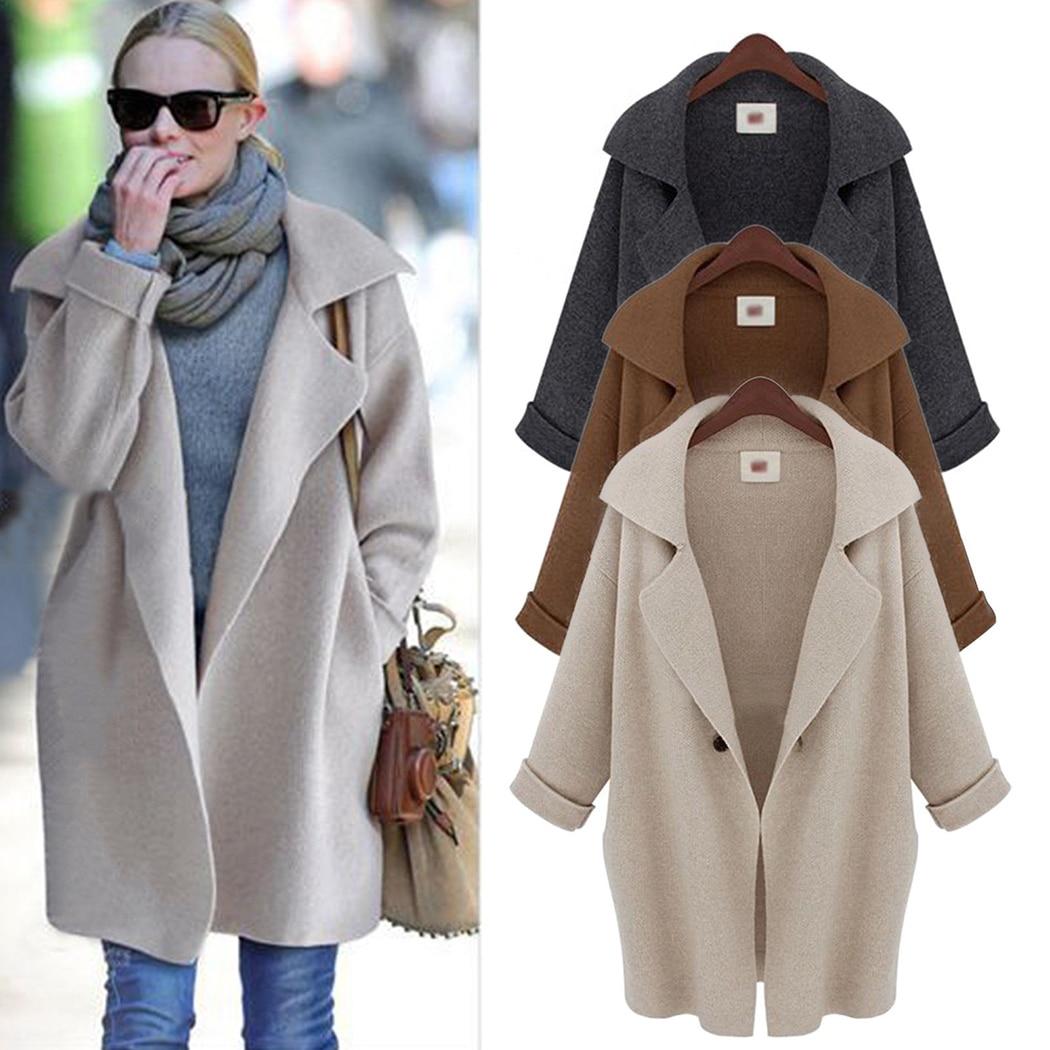 New Women Knitted Cardigan Coat Autumn Winter Lapel Long Sleeve Loose Sweater Jacket 2018 Elegant Female Solid Outwear Overcoat