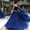 Azul marinho longos vestidos de baile 2016 Querida Frisado Uma Linha de Strass Personalizado Graduationy Vestidos Baratos vestido de para formatura