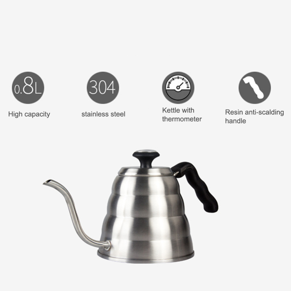 1.2 L Stainless Steel Coffee Kettle Coffee Tea Pot Pouring Drip Kettle with Gooseneck and Built-in Creative Thermometer
