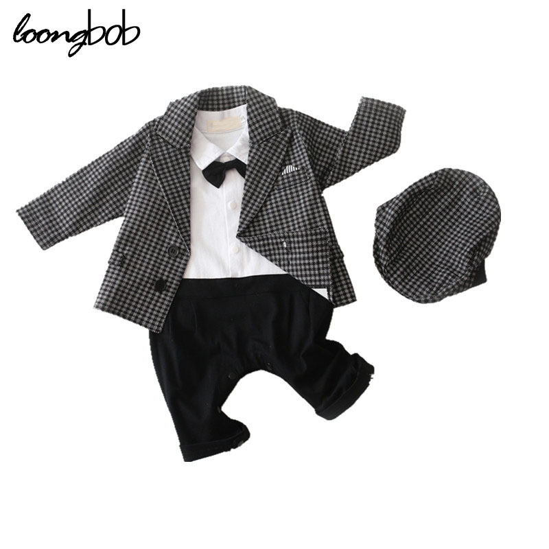 Baby boy formal suit 3pcs clothing set plaid jacket + bow tie romper + hat newborn clothes infantil gentlemen custume outfits ...