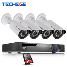 Techege 4CH 1080P POE NVR System 1280*960P 1.3MP POE IP Camera P2P Surveillance System waterproof IP66 Camera System CCTV System