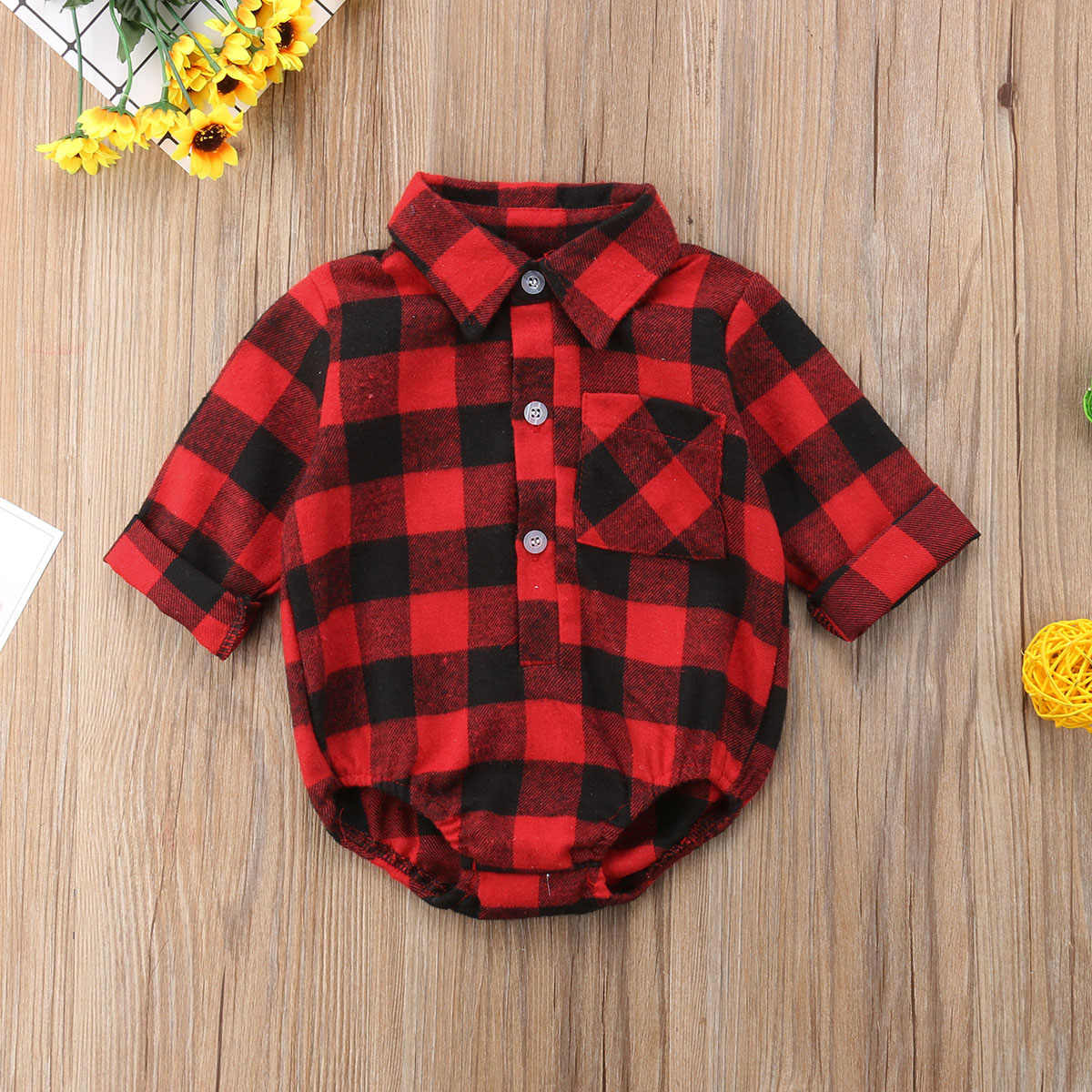 2018 Brand New Christmas Clothes Toddler Baby Girl Boy Bodysuit Long Sleeve Single Breasted Plaid Back Deer Elk Jumpsuits 0-24M