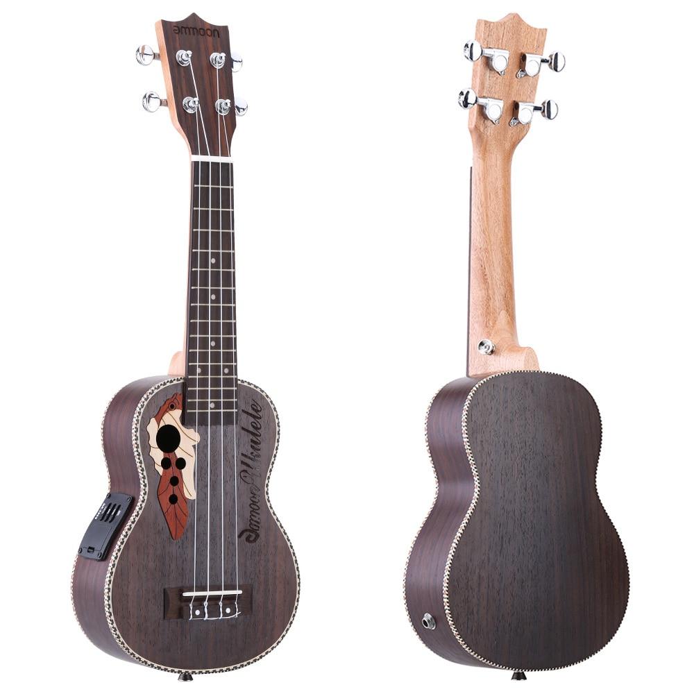 """ammoon Spruce 21"""" Acoustic Ukulele 15 Fret Ukelele Uke 4 Strings Guitar Stringed Musical Instrument with Built in EQ Pickup-in Ukulele from Sports & Entertainment    1"""