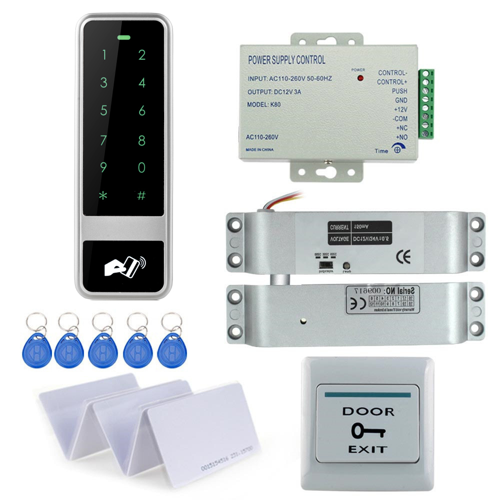 Metal Keypad RFID access control system C50+electric drop bolt lock+3A/12V power supply+exit button+10pcs key cards hot sale completed door access control system kit v2000 c and electric control lock power supply exit button 10pcs id key cards