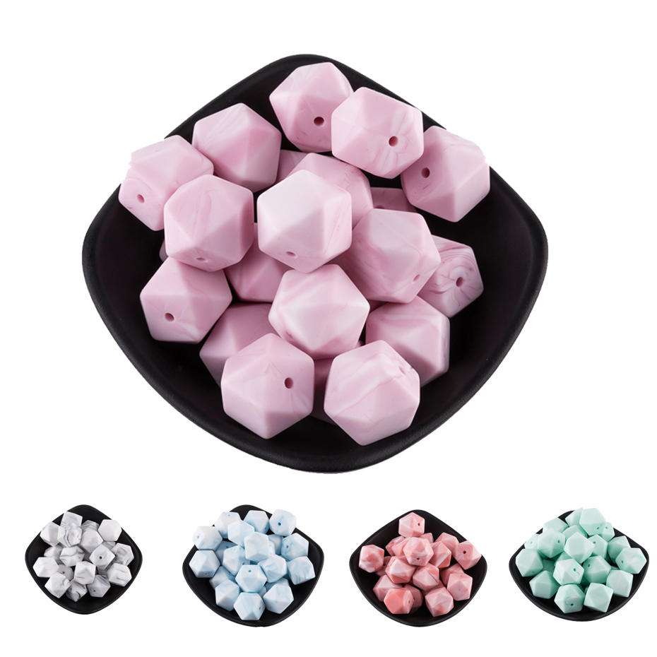 17mm Marble Hexagon Silicone Teething Beads 50Pc Handmade Baby Necklace Pacifier Clip Chain Silicone Chewable Beads Baby Teether