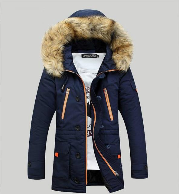 Pria berlapis kapas Jaket Musim Dingin Korea Tebal Kerah Bulu Hood Jaket  Musim Dingin Pria Korea 0a7f8c6a39
