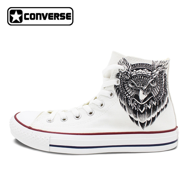 Men Women Converse All Star White Shoes Owl Original Design Custom Hand  Painted High Top Canvas