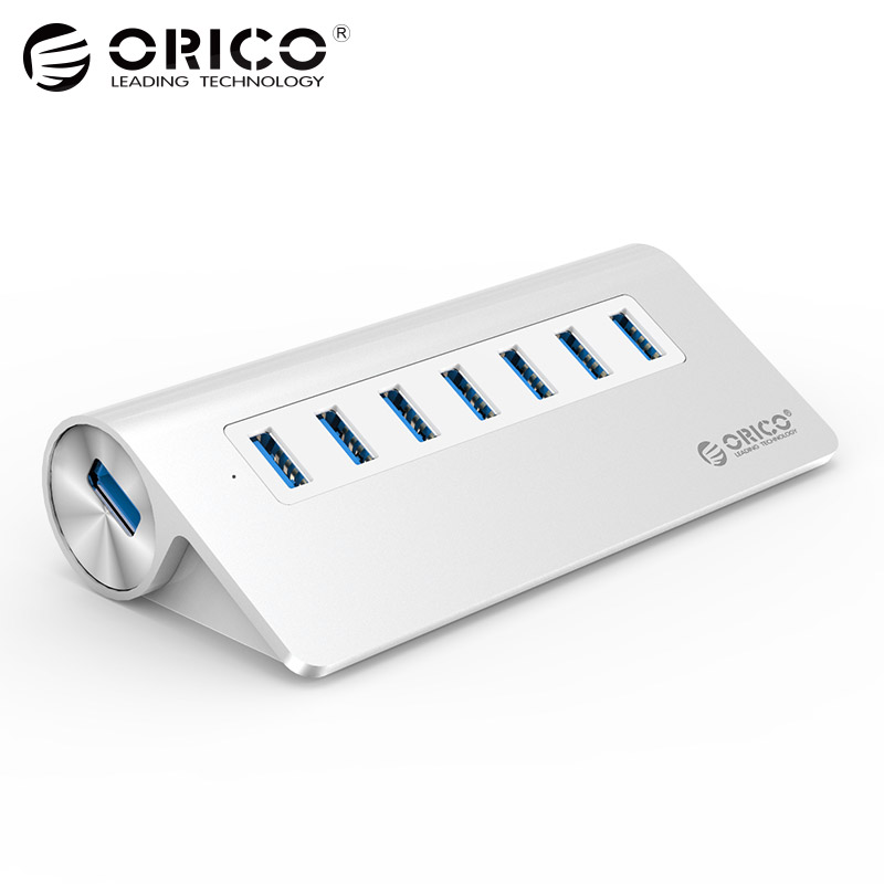 USB3.0 Hub ORICO Aluminum 7 Port Super Speed Hub with 12V/2.5A Power Adapter 3.3Ft. USB3.0 Cable Cord for iMac MacBook PC Laptop eofk women ballet flats women s flat shoes casual cow suede leather loafers shoes woman butter fly slip on solid ladies shoes
