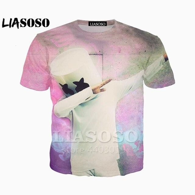 LIASOSO 2018 nueva Harajuku Hip Hop DJ cantante Marshmello 3D impresión  camiseta Sudadera con capucha c95970fe685