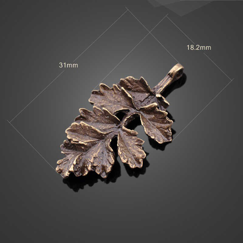 10 pcs/lot Hot Sale High quality Alloy Charms Retro Leaf Charm Ancient bronze Necklace Pendants Retro Jewelry Accessories 31mm