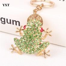 Keyring Keychain Purse Charm-Pendant Frog Green Handbag Copper-Coin Crystal Birthday