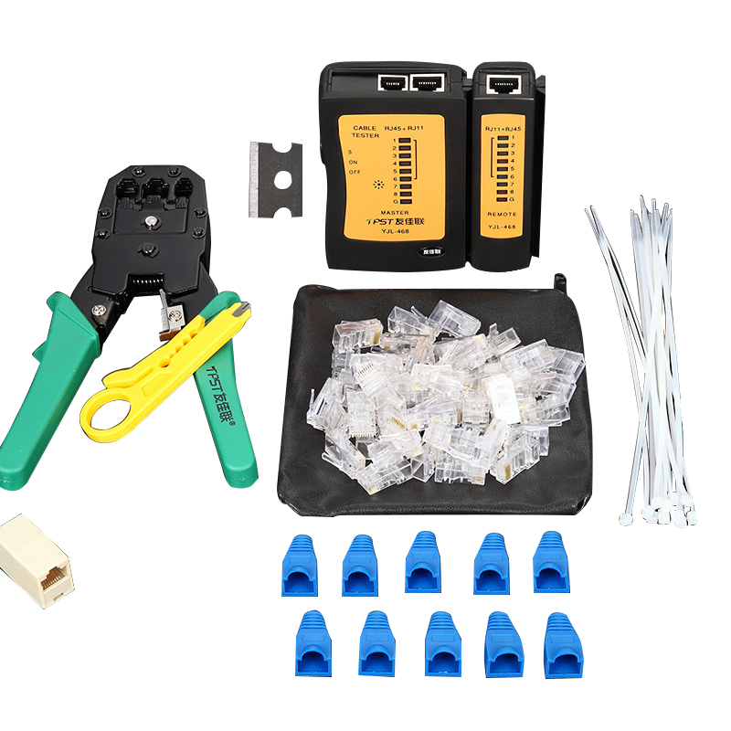 Original Wire Clamp Set Tool Crimping Pliers Net + Cable Test Instrument Network Crystal Head Stripper
