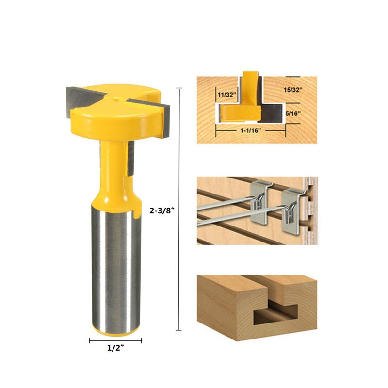 Straight T Slot Router Bit 1/2 Inch Shank Carbide Wood Milling Cutter Woodworking Drill Bit Power Tools 1pc durable mayitr cnc carbide alloy woodworking milling cutter straight end 1 2 shank 2 1 4 dia bottom cleaning router bit