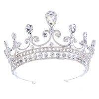 新しいデザイン高級romatic王冠ティアラエレガントなピーチハートラインストーンクリスタルヘアジュエリー花嫁ウェディングパーティー