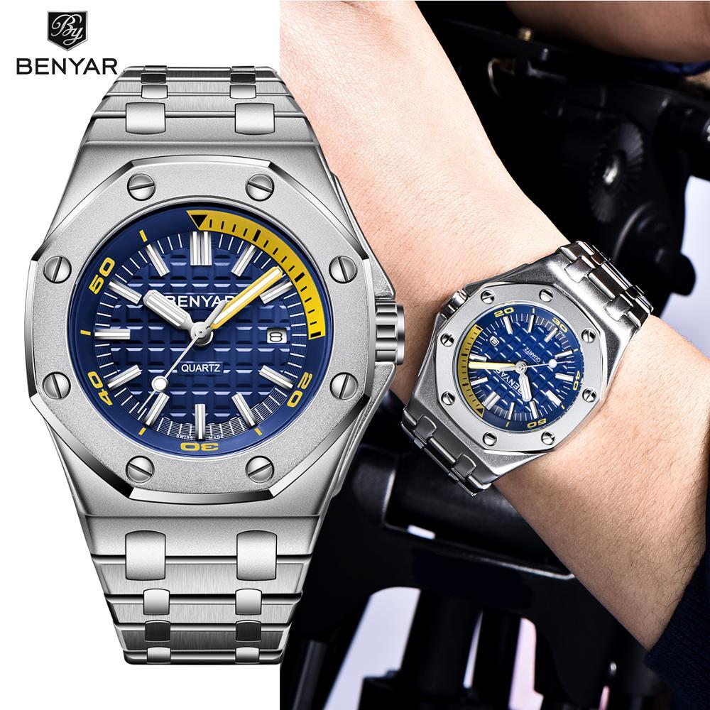 Men's Watches BENYAR New Top Luxury Business Wrist Watches Mens Waterproof Steel Quartz Fashion Watch Men Relogio Masculino