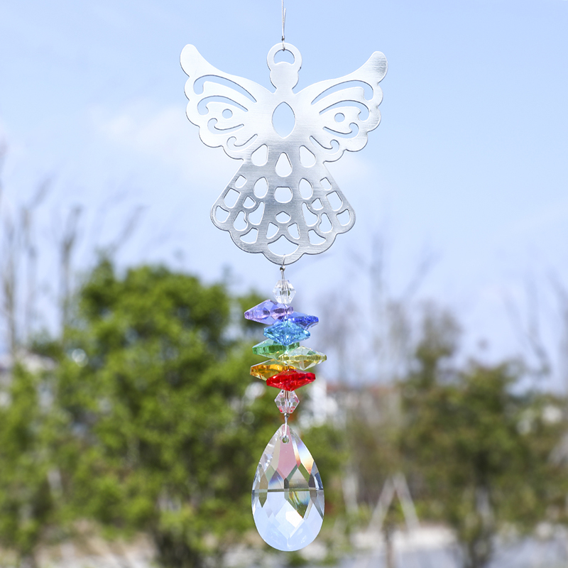 H&D Chakra Crystal Suncatcher - Angel Rainbow Maker With Faceted Teardrop Pendant For Window Ornaments