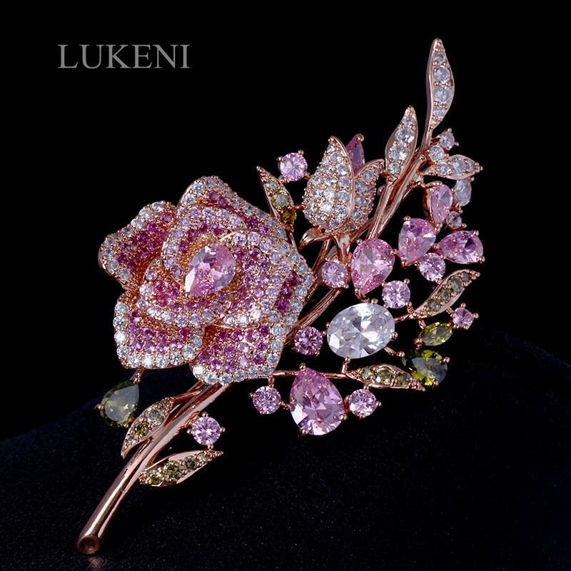 LUKENI Grande Nova Rosa Elegante Flor de Cristal Pin Broche de Strass Noiva Dama de honra de Casamento Romântico Strass Broches e Alfinetes