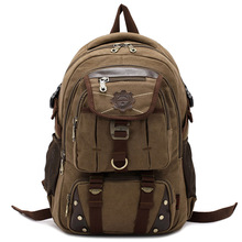 Mens Multifunctional Large-capacity Retro Backpack Canvas Bucket Travel Bag Backpacks Trekking Rucksacks