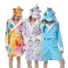 Animal Flannel Adults Bath Robe Sleepwear Women Men Bathrobe Thick Warm